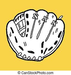 doodle, honkbal glove