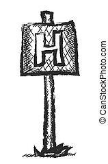 doodle hospital sign, vector