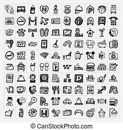 doodle, hotel, set, iconen