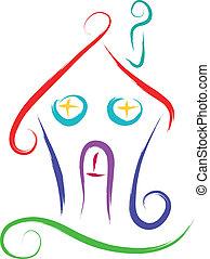 house - doodle house sketch vector illustration