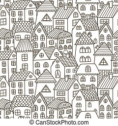 Doodle houses seamless pattern. Black and white city background
