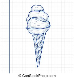 Doodle ice cream. Hand drawn vector illustration. Sketch style. Fresh popsicle on paper. Pen drawing.