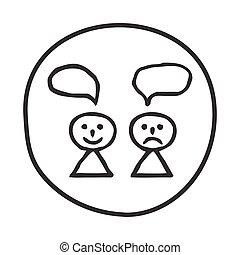 doodle, icon., persoon, vrolijke , verdrietige