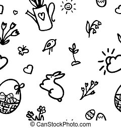 Doodle icon set. Spring pattern in hand drawn style. Seamless texture.