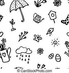 Doodle icon set. Spring pattern in hand drawn style. Seamless texture