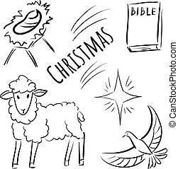 Doodle icons for Christmas - Bible, dove, lamb, child, star