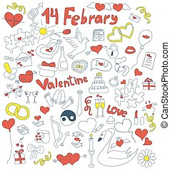 Doodle icons for St. Valentine's day. Hand drawn...
