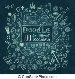 Doodle Icons set - Doodle 100 Icons. Universal set on...