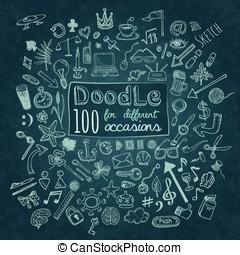 Doodle Icons set - Doodle 100 Icons. Universal set on...