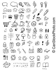 Doodle icons - Set of various hand drawn icons