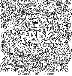 doodle, illustratie, hand, baby, getrokken, spotprent