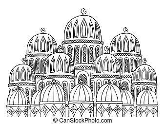 doodle., illustration., 抽象的, モスク, 手, sketchy, 黒, 引かれる