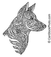 Doodle illustration of a dog head with a tribal pattern