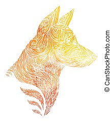 Doodle illustration of a dog head with a tribal pattern and yellow watercolor background