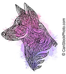 Doodle illustration of a dog head with a tribal pattern and watercolor splashes