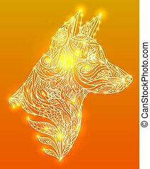 Doodle illustration of a dog head with a tribal pattern.