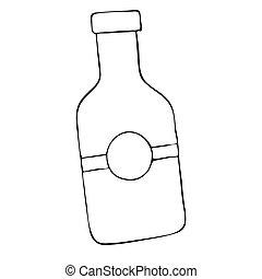 doodle, ilustração, mão, vetorial, desenhado, garrafa