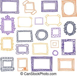 doodle, ilustração, mão, vetorial, photoframes., desenhado