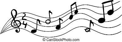 doodle, ilustração, musical, image., notas, vetorial, mão, desenhado