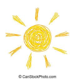 doodle, ilustração, sol