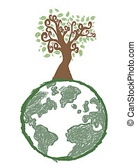 doodle image of earth tree