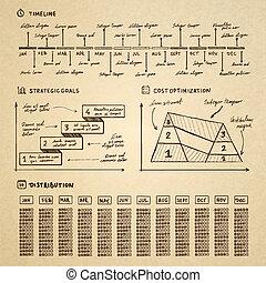 doodle, infographics, elementos, para, apresentação negócio