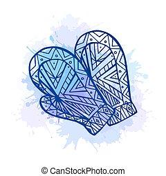 doodle, inverno, ilustração, mittens