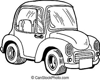 doodle, isolado, ilustração, mão, experiência., vetorial, retro, car, desenhado, branca