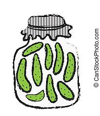doodle Jar of pickles, winter stores, halftone texture
