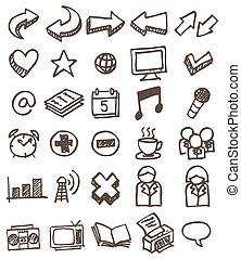 doodle, jogo, ícone