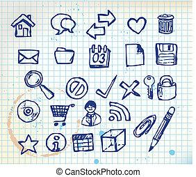 doodle, jogo, ícones computador