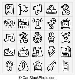 doodle, jogo, ícones correia fotorreceptora