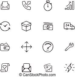 doodle, jogo, ícones escritório