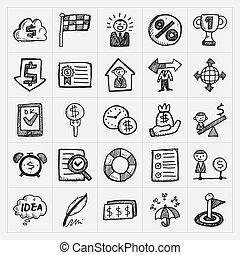 doodle, jogo, ícones negócio