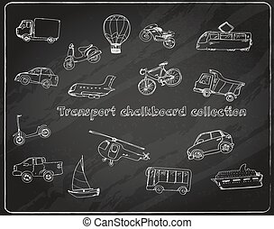 doodle, jogo, chalkboard, transporte