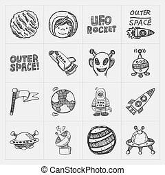 doodle, jogo, espaço, ícone, elemento