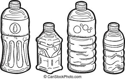 doodle, jogo, garrafa