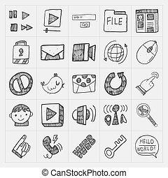 doodle, jogo, internet, teia, ícone