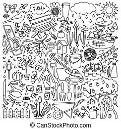 doodle, jogo, jardim