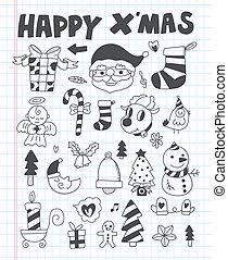 doodle, jogo, natal, ícone