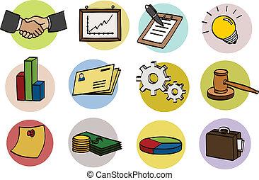 doodle, jogo, negócio, ícone