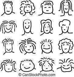 doodle, jogo, rostos pessoas