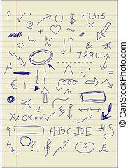 doodle, jogo, sinais