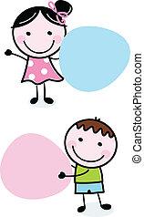 doodle, jongen en meisje, vasthouden, leeg, banieren