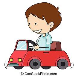 doodle, jongen, speelbal, besturen, auto
