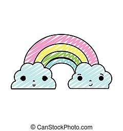 doodle kawaii cute rainbow and clouds weather