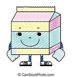 doodle kawaii happy milk box nutrition