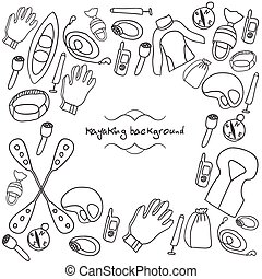 kayaking background - Doodle kayaking background with vest,...