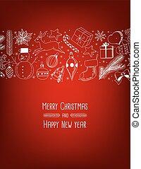 doodle, kerstmis, achtergrond