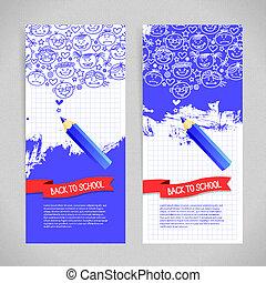Doodle  kid cartoon banners. Back to school design